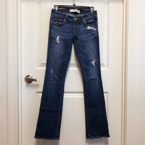 A&F Ripped Low Rise Bootcut Jeans